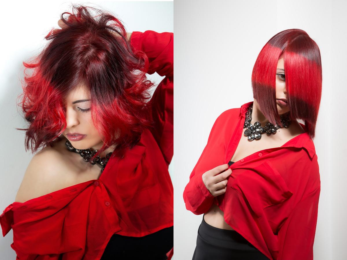 czarno czerwone wlosy